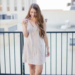 Loft Blush Crushed Velvet Swing Dress Size 12